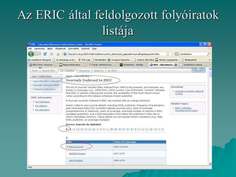 Az ERIC által feldolgozott folyóiratok listája