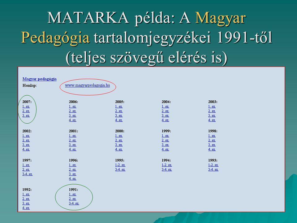 MATARKA példa: A Magyar Pedagógia tartalomjegyzékei 1991-től (teljes szövegű elérés is)