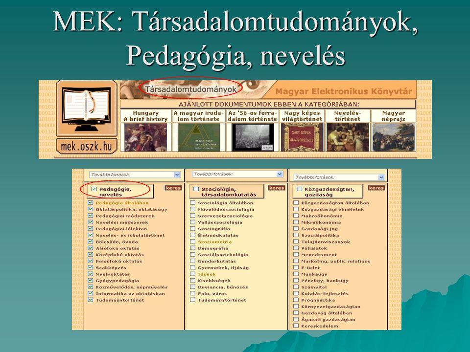 MEK: Társadalomtudományok, Pedagógia, nevelés