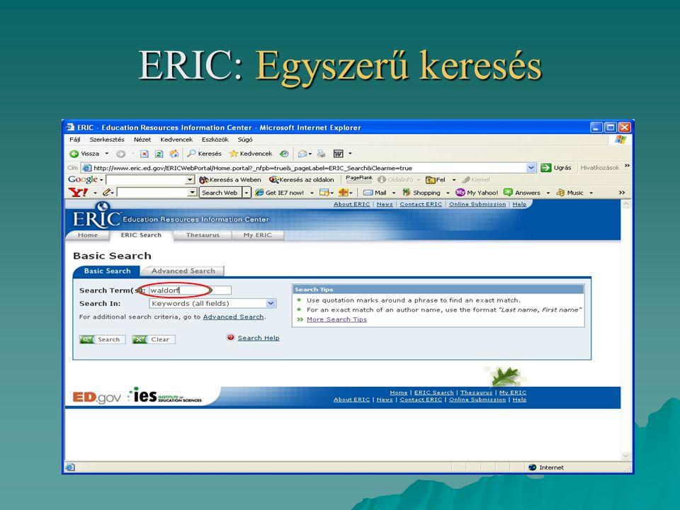 ERIC: Egyszerű keresés