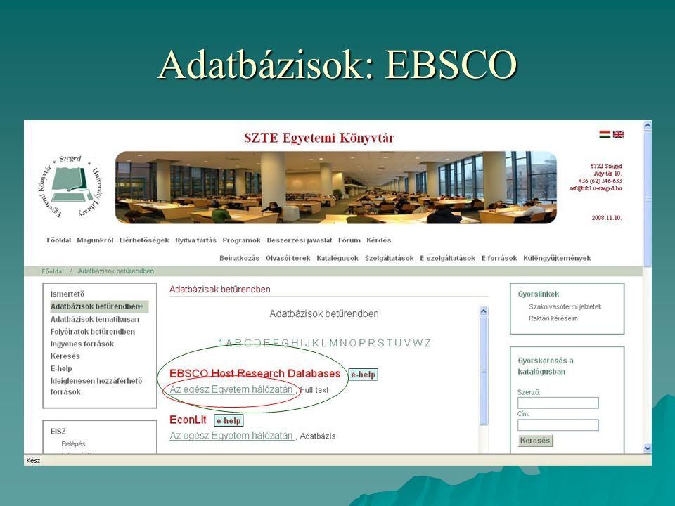 Adatbázisok: EBSCO