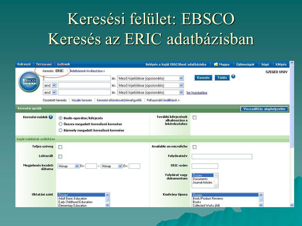 Keresési felület: EBSCO Keresés az ERIC adatbázisban
