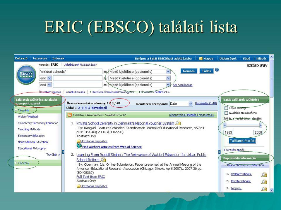 ERIC (EBSCO) találati lista