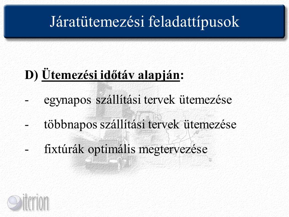 Járatütemezési feladattípusok D) Ütemezési időtáv alapján: -egynapos szállítási tervek ütemezése -többnapos szállítási tervek ütemezése -fixtúrák opti
