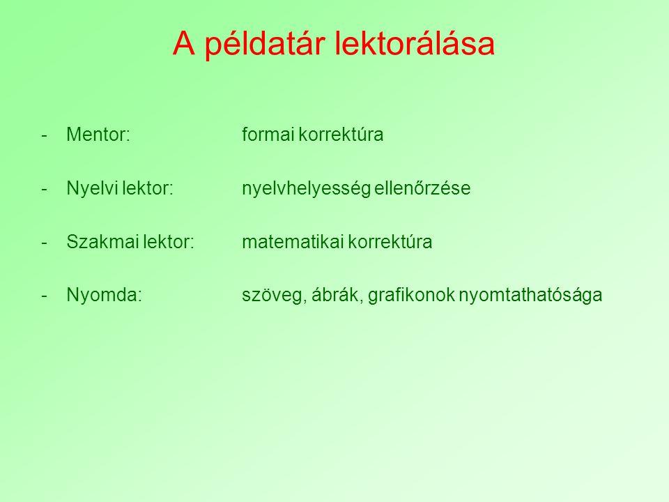 A példatár lektorálása -Mentor:formai korrektúra -Nyelvi lektor:nyelvhelyesség ellenőrzése -Szakmai lektor:matematikai korrektúra -Nyomda:szöveg, ábrá