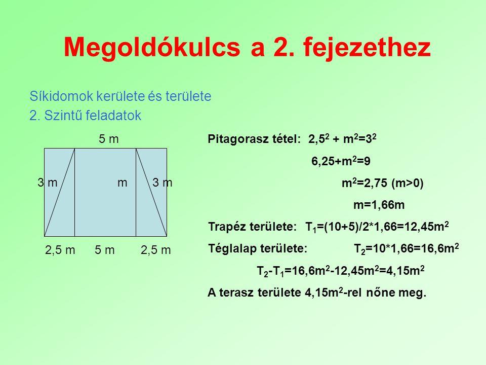 Megoldókulcs a 2. fejezethez Síkidomok kerülete és területe 2. Szintű feladatok 5 m m 2,5 m 3 m Pitagorasz tétel: 2,5 2 + m 2 =3 2 6,25+m 2 =9 m 2 =2,