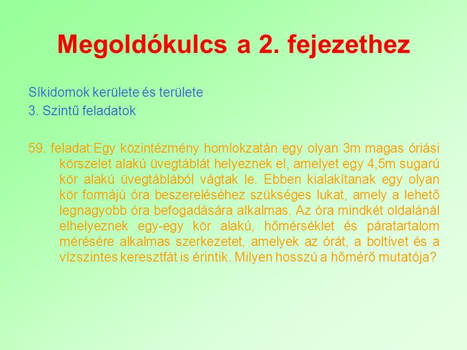 Megoldókulcs a 2. fejezethez Síkidomok kerülete és területe 3. Szintű feladatok 59. feladat:Egy közintézmény homlokzatán egy olyan 3m magas óriási kör