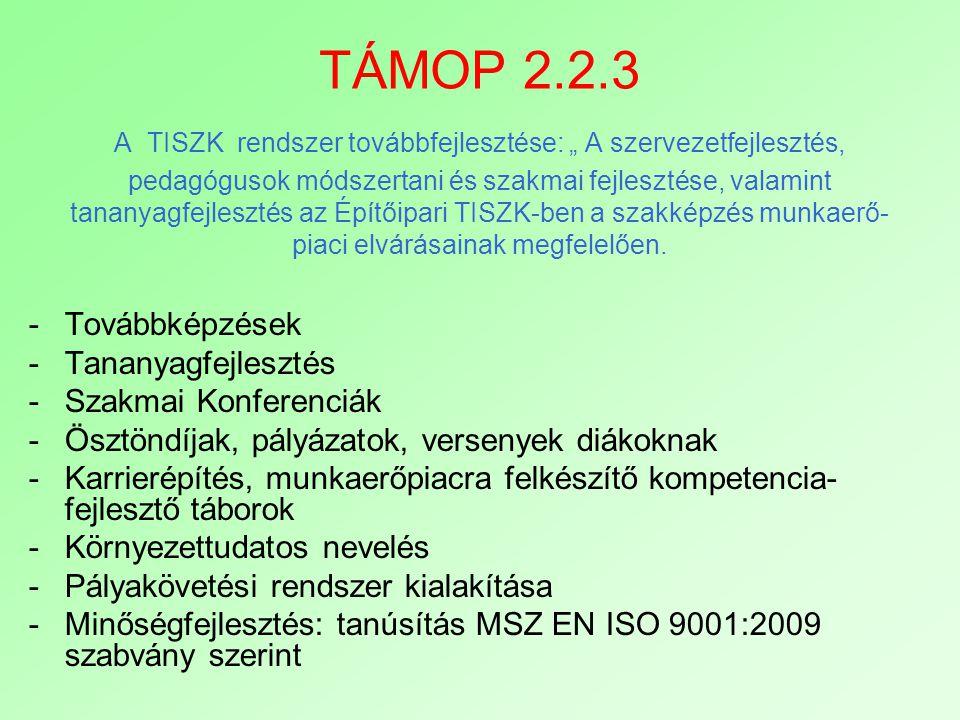 """TÁMOP 2.2.3 A TISZK rendszer továbbfejlesztése: """" A szervezetfejlesztés, pedagógusok módszertani és szakmai fejlesztése, valamint tananyagfejlesztés a"""