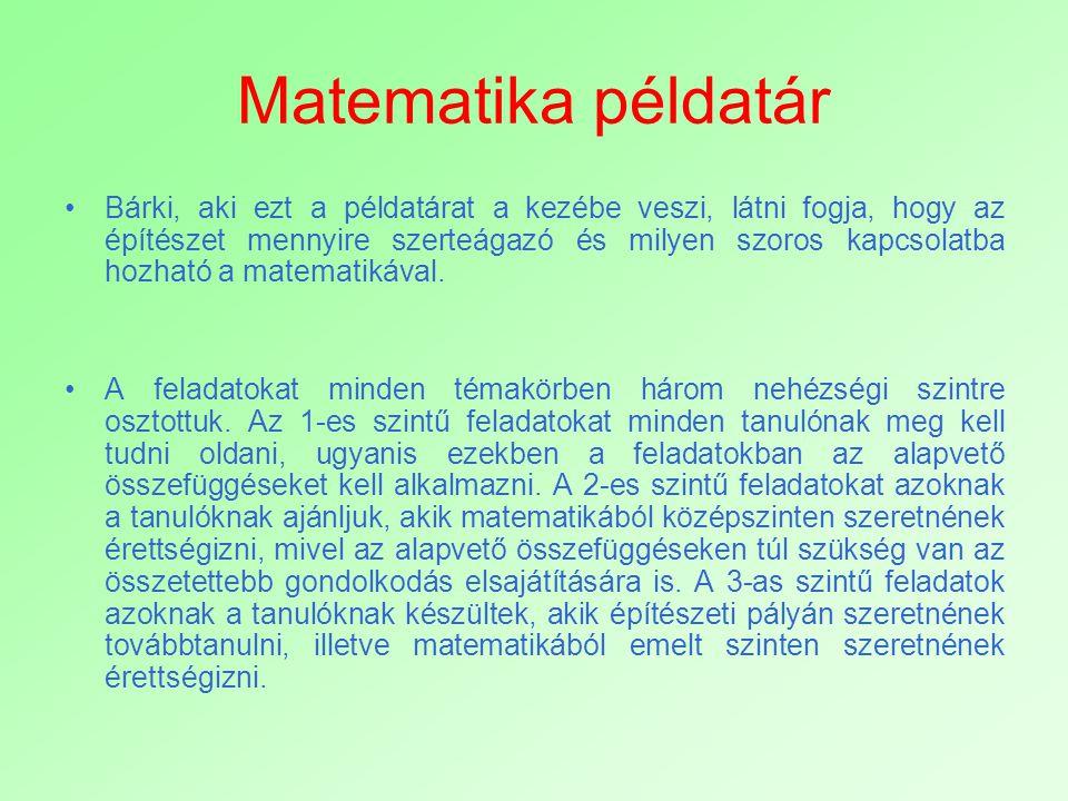 A példatár fejezetei -Százalékszámítás -Síkidomok kerülete és területe -Egyenlettel vagy egyenletrendszerrel megoldható szöveges feladatok -Függvények -Statisztika -Egybevágósági transzformációk -Hasonlóság -Koordináta-geometria -Sorozatok -Térgeometria