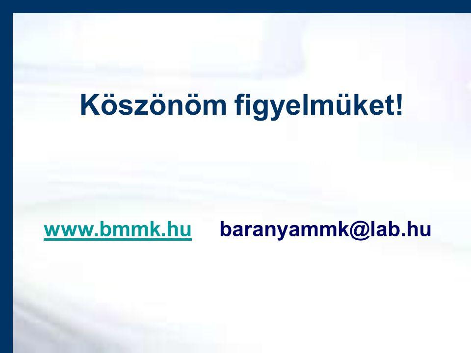 Köszönöm figyelmüket! www.bmmk.huwww.bmmk.hu baranyammk@lab.hu