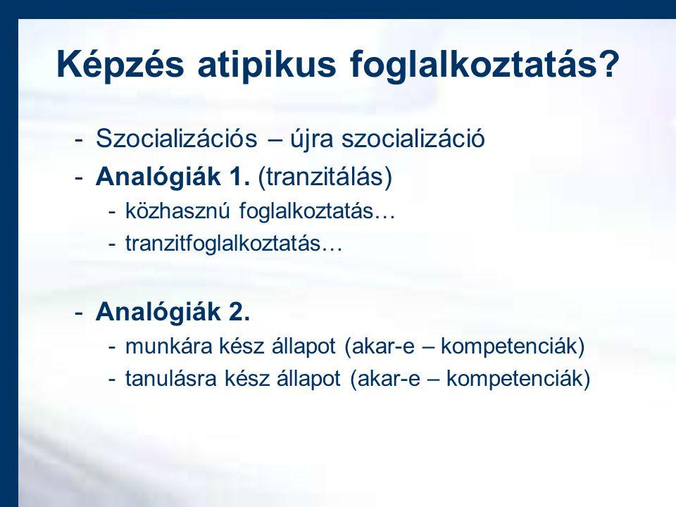 Képzés atipikus foglalkoztatás. -Szocializációs – újra szocializáció -Analógiák 1.