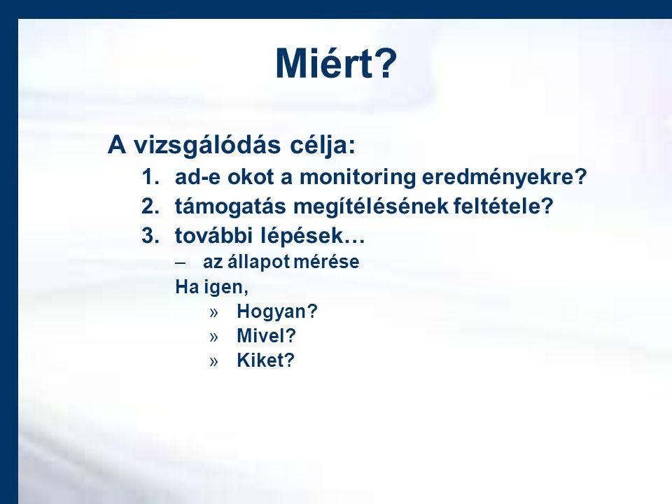 Miért. A vizsgálódás célja: 1.ad-e okot a monitoring eredményekre.