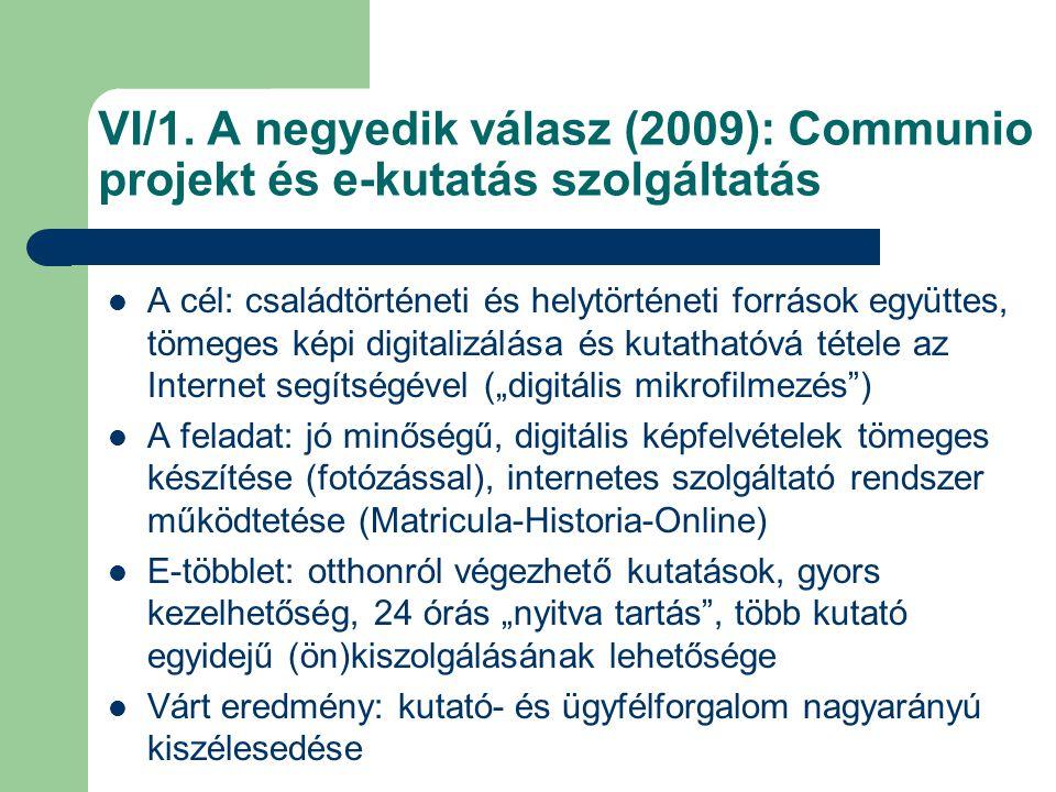 VI/1. A negyedik válasz (2009): Communio projekt és e-kutatás szolgáltatás A cél: családtörténeti és helytörténeti források együttes, tömeges képi dig