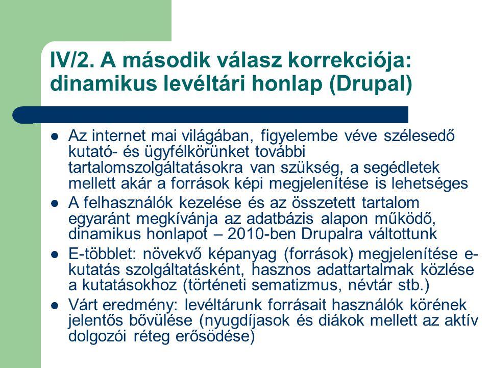 IV/2. A második válasz korrekciója: dinamikus levéltári honlap (Drupal) Az internet mai világában, figyelembe véve szélesedő kutató- és ügyfélkörünket