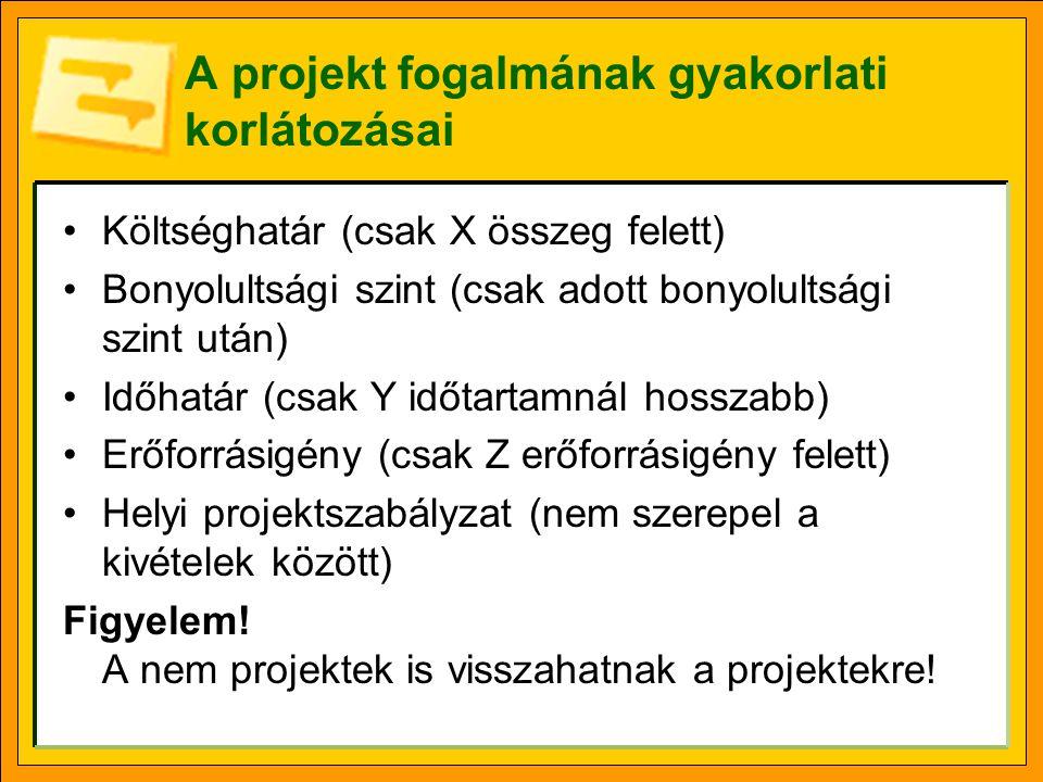Elvárások a projektekkel szemben