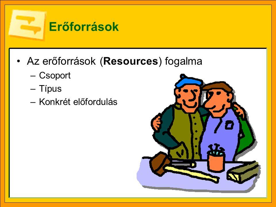 Erőforrások Az erőforrások (Resources) fogalma –Csoport –Típus –Konkrét előfordulás