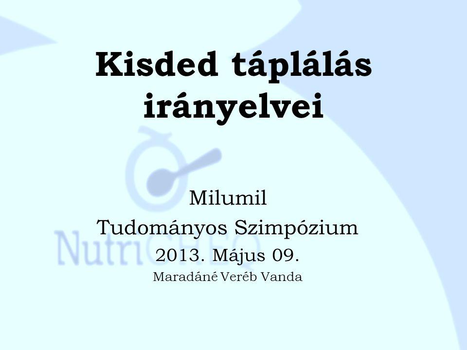 Kisded táplálás irányelvei Milumil Tudományos Szimpózium 2013. Május 09. Maradáné Veréb Vanda