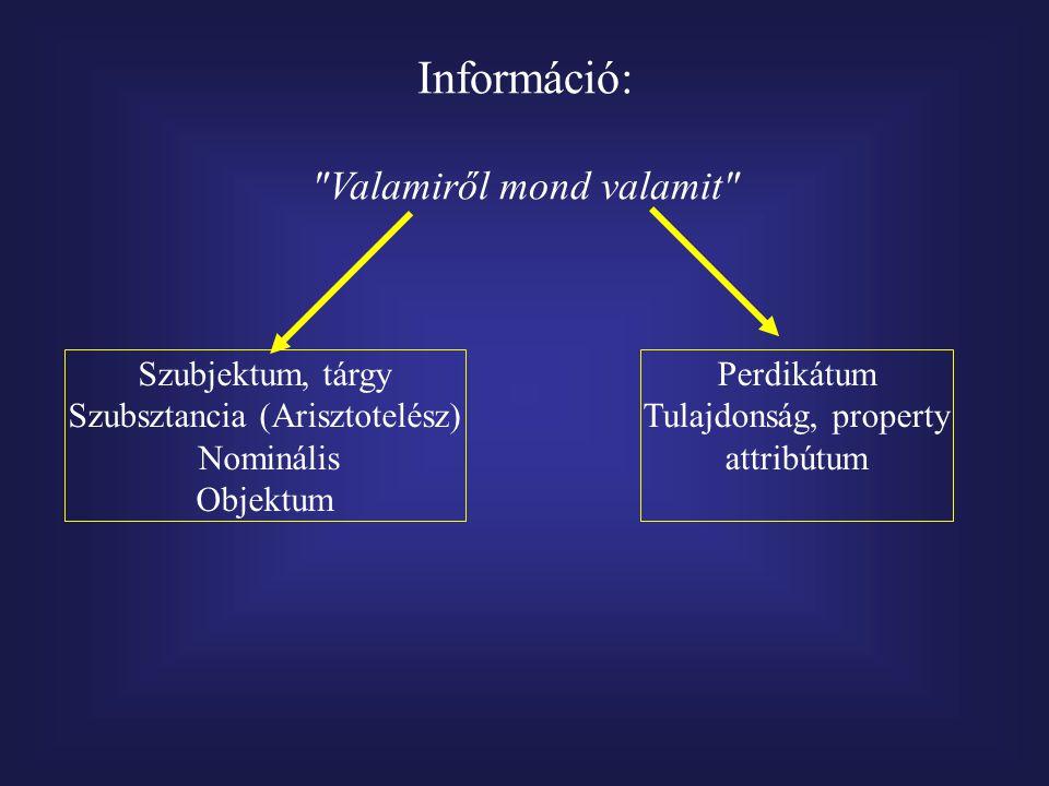 Információ: Valamiről mond valamit Szubjektum, tárgy Szubsztancia (Arisztotelész) Nominális Objektum Perdikátum Tulajdonság, property attribútum