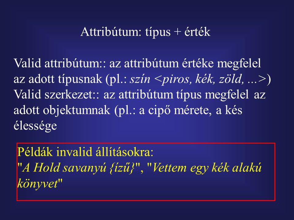 Attribútum: típus + érték Valid attribútum:: az attribútum értéke megfelel az adott típusnak (pl.: szín ) Valid szerkezet:: az attribútum típus megfelel az adott objektumnak (pl.: a cipő mérete, a kés élessége Példák invalid állításokra: A Hold savanyú {ízű} , Vettem egy kék alakú könyvet