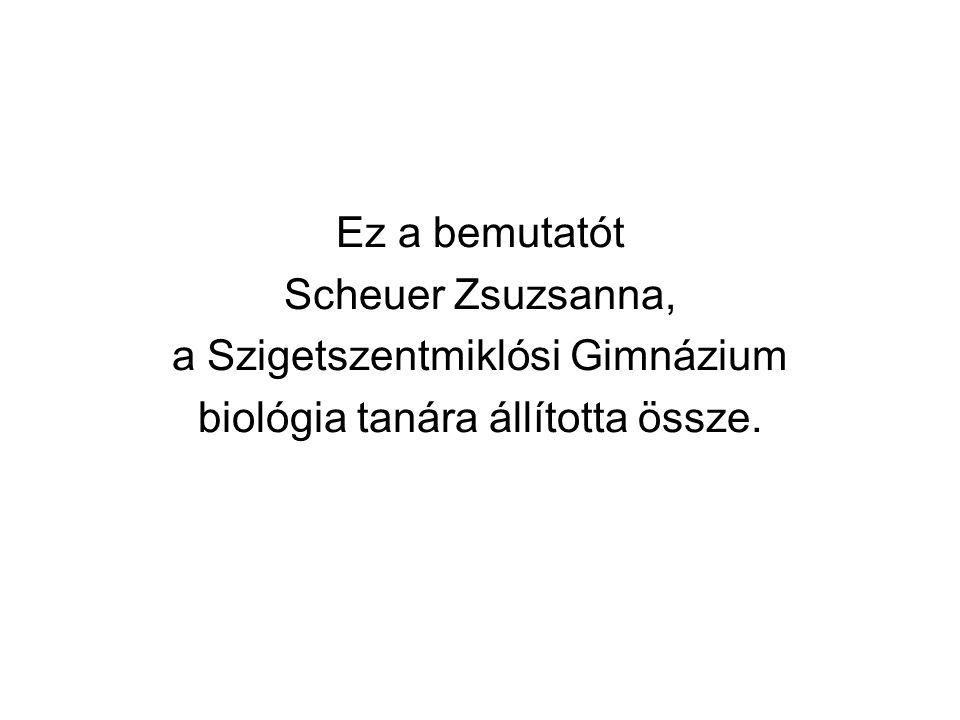Ez a bemutatót Scheuer Zsuzsanna, a Szigetszentmiklósi Gimnázium biológia tanára állította össze.