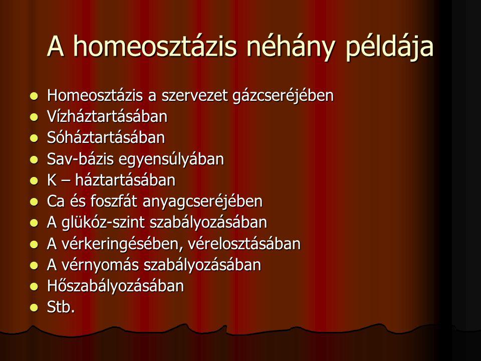 A homeosztázis néhány példája Homeosztázis a szervezet gázcseréjében Homeosztázis a szervezet gázcseréjében Vízháztartásában Vízháztartásában Sóháztar