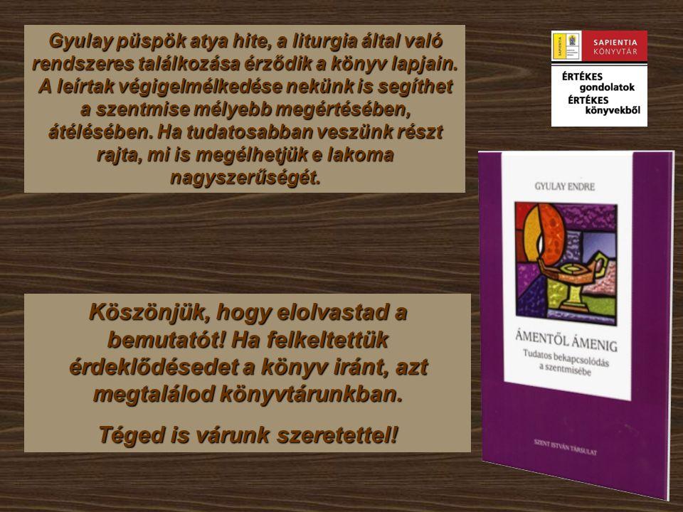 Gyulay püspök atya hite, a liturgia által való rendszeres találkozása érződik a könyv lapjain.