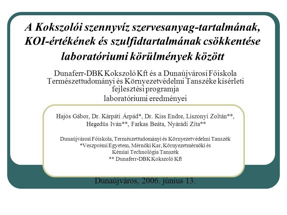 A Kokszolói szennyvíz szervesanyag-tartalmának, KOI-értékének és szulfidtartalmának csökkentése laboratóriumi körülmények között Dunaferr-DBK Kokszoló Kft és a Dunaújvárosi Főiskola Természettudományi és Környezetvédelmi Tanszéke kísérleti fejlesztési programja laboratóriumi eredményei Hajós Gábor, Dr.