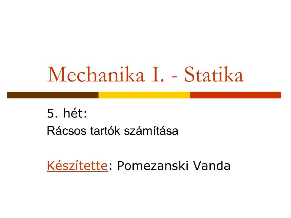 Mechanika I. - Statika 5. hét: Rácsos tartók számítása Készítette: Pomezanski Vanda