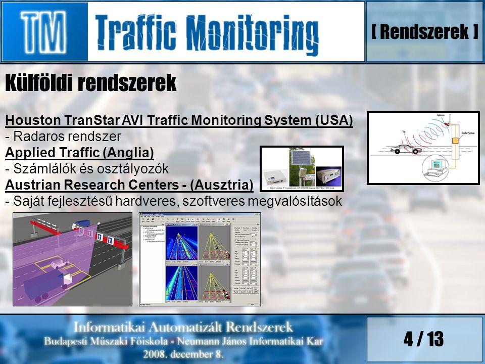 4 / 13 Külföldi rendszerek Houston TranStar AVI Traffic Monitoring System (USA) - Radaros rendszer Applied Traffic (Anglia) - Számlálók és osztályozók Austrian Research Centers - (Ausztria) - Saját fejlesztésű hardveres, szoftveres megvalósítások [ Rendszerek ]