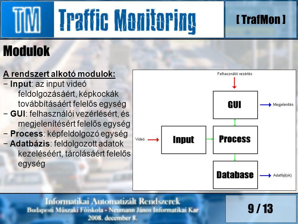9 / 13 A rendszert alkotó modulok: − Input: az input videó feldolgozásáért, képkockák továbbításáért felelős egység − GUI: felhasználói vezérlésért, és megjelenítésért felelős egység − Process: képfeldolgozó egység − Adatbázis: feldolgozott adatok kezeléséért, tárolásáért felelős egység [ TrafMon ] Modulok