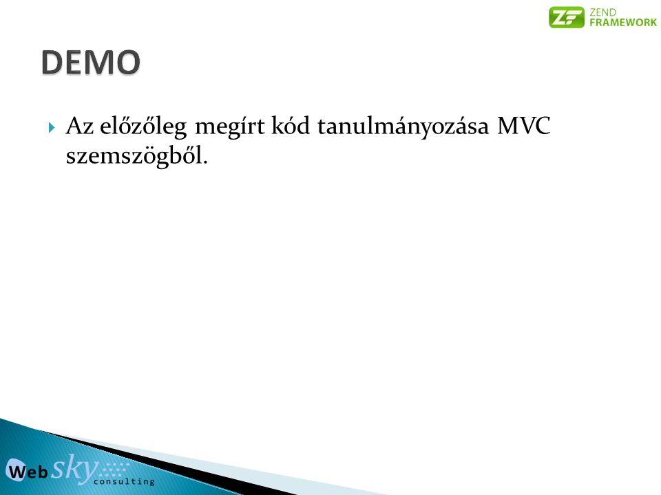  Az előzőleg megírt kód tanulmányozása MVC szemszögből.