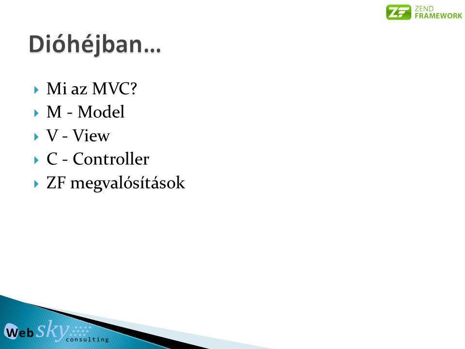  Mi az MVC?  M - Model  V - View  C - Controller  ZF megvalósítások