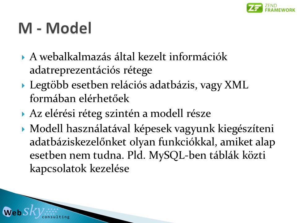  A webalkalmazás által kezelt információk adatreprezentációs rétege  Legtöbb esetben relációs adatbázis, vagy XML formában elérhetőek  Az elérési r