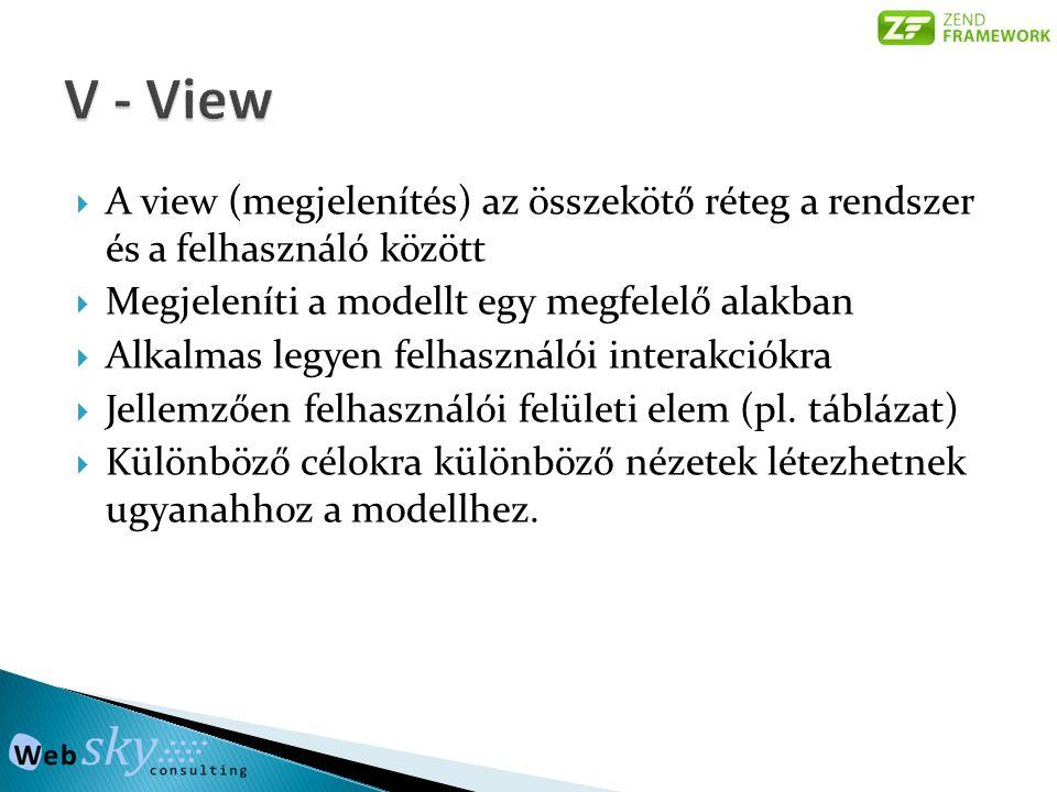  A view (megjelenítés) az összekötő réteg a rendszer és a felhasználó között  Megjeleníti a modellt egy megfelelő alakban  Alkalmas legyen felhaszn
