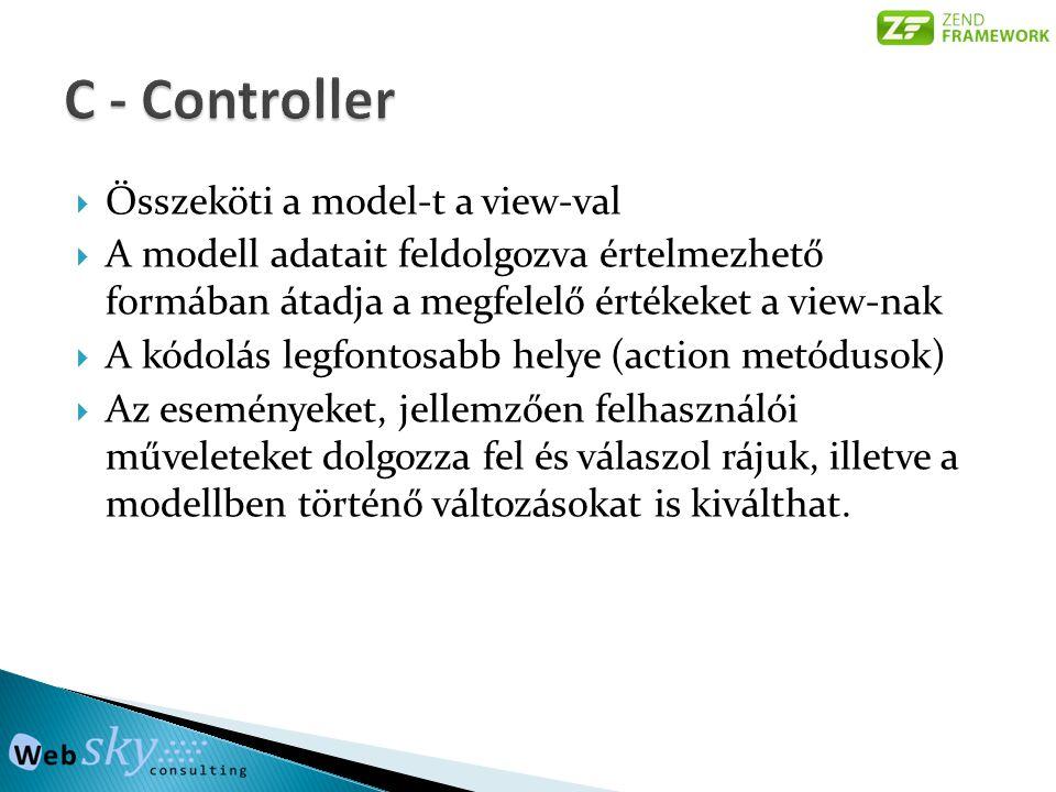  Összeköti a model-t a view-val  A modell adatait feldolgozva értelmezhető formában átadja a megfelelő értékeket a view-nak  A kódolás legfontosabb