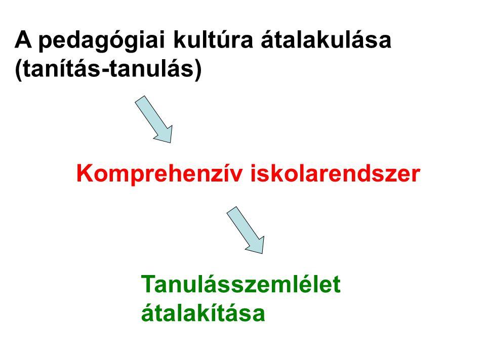 A pedagógiai kultúra átalakulása (tanítás-tanulás) Komprehenzív iskolarendszer Tanulásszemlélet átalakítása