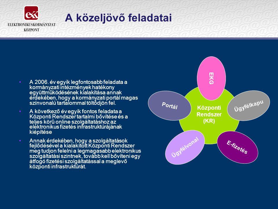 A közeljövő feladatai A 2006. év egyik legfontosabb feladata a kormányzati intézmények hatékony együttműködésének kialakítása annak érdekében, hogy a