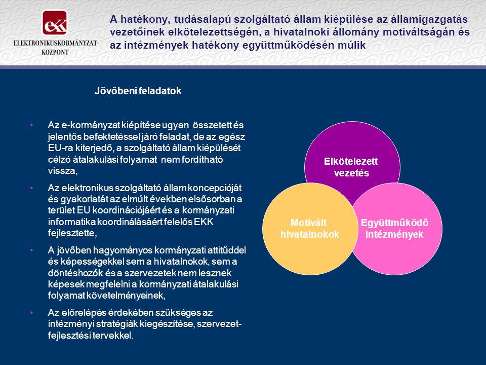 A hatékony, tudásalapú szolgáltató állam kiépülése az államigazgatás vezetőinek elkötelezettségén, a hivatalnoki állomány motiváltságán és az intézmények hatékony együttműködésén múlik Jövőbeni feladatok Az e-kormányzat kiépítése ugyan összetett és jelentős befektetéssel járó feladat, de az egész EU-ra kiterjedő, a szolgáltató állam kiépülését célzó átalakulási folyamat nem fordítható vissza, Az elektronikus szolgáltató állam koncepcióját és gyakorlatát az elmúlt években elsősorban a terület EU koordinációjáért és a kormányzati informatika koordinálásáért felelős EKK fejlesztette, A jövőben hagyományos kormányzati attitűddel és képességekkel sem a hivatalnokok, sem a döntéshozók és a szervezetek nem lesznek képesek megfelelni a kormányzati átalakulási folyamat követelményeinek, Az előrelépés érdekében szükséges az intézményi stratégiák kiegészítése, szervezet- fejlesztési tervekkel.