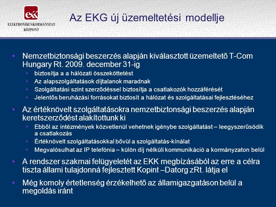 Az EKG új üzemeltetési modellje Nemzetbiztonsági beszerzés alapján kiválasztott üzemeltető T-Com Hungary Rt. 2009. december 31-ig biztosítja a a hálóz