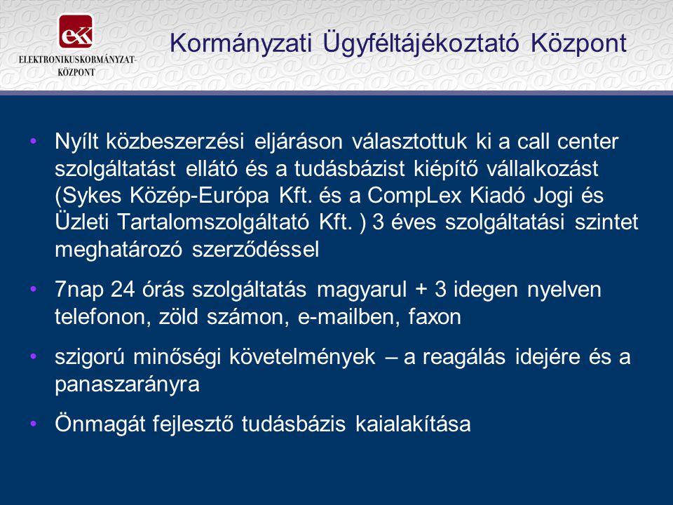 Kormányzati Ügyféltájékoztató Központ Nyílt közbeszerzési eljáráson választottuk ki a call center szolgáltatást ellátó és a tudásbázist kiépítő vállalkozást (Sykes Közép-Európa Kft.