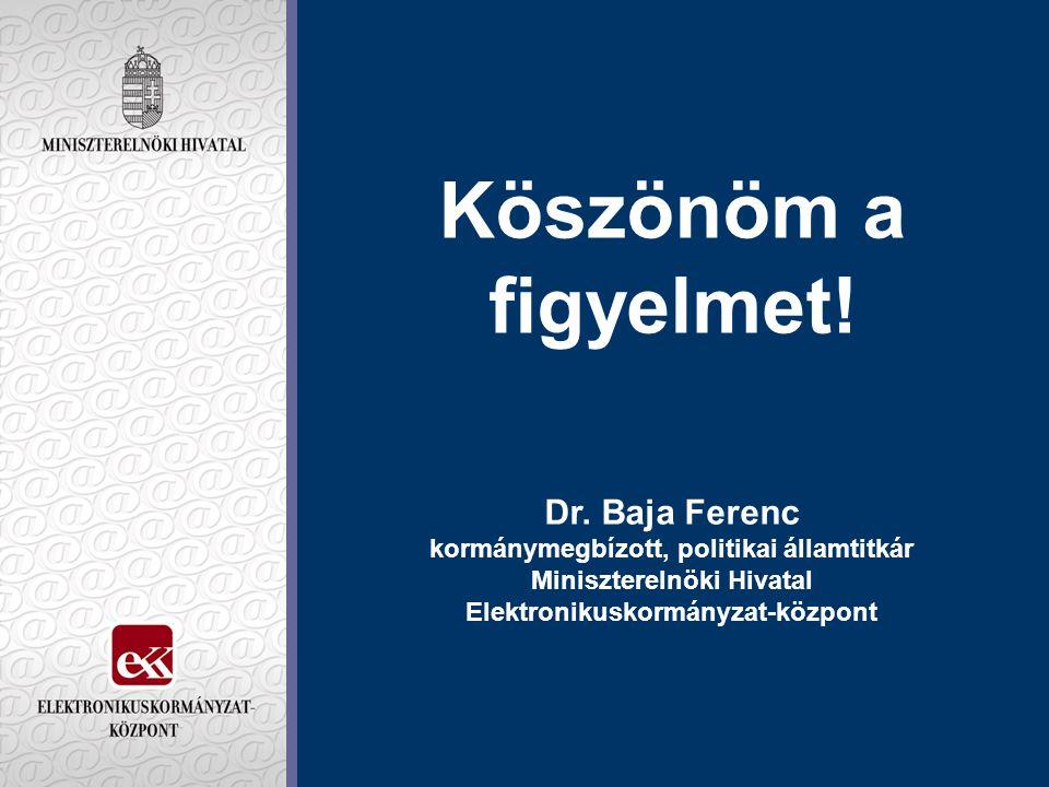 Köszönöm a figyelmet! Dr. Baja Ferenc kormánymegbízott, politikai államtitkár Miniszterelnöki Hivatal Elektronikuskormányzat-központ