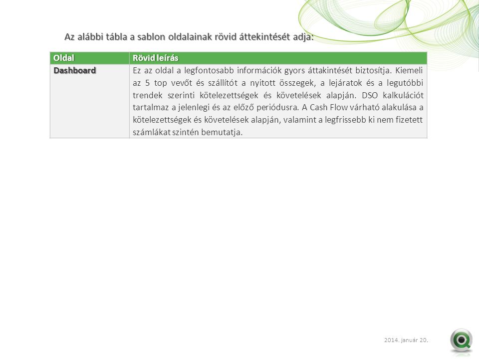 2012 szept. 20.. Az alábbi tábla a sablon oldalainak rövid áttekintését adja: OldalRövid leírásRövid leírásDashboardEz az oldal a legfontosabb informá