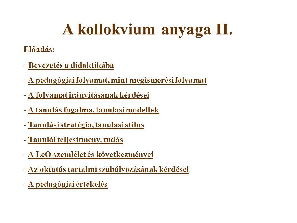A kollokvium anyaga II.
