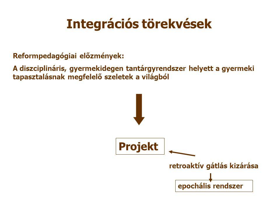 Integrációs törekvések Reformpedagógiai előzmények: A diszciplináris, gyermekidegen tantárgyrendszer helyett a gyermeki tapasztalásnak megfelelő szeletek a világból Projekt retroaktív gátlás kizárása epochális rendszer
