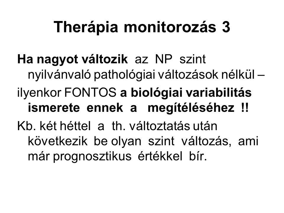 Therápia monitorozás 3 Ha nagyot változik az NP szint nyilvánvaló pathológiai változások nélkül – ilyenkor FONTOS a biológiai variabilitás ismerete ennek a megítéléséhez !.