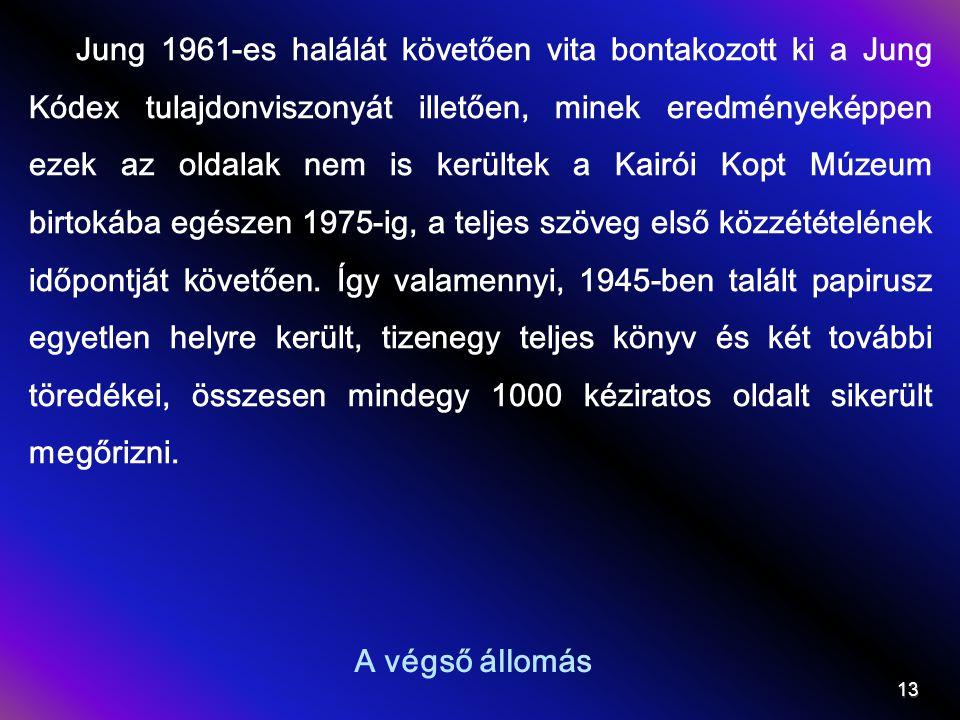 A végső állomás 13 Jung 1961-es halálát követően vita bontakozott ki a Jung Kódex tulajdonviszonyát illetően, minek eredményeképpen ezek az oldalak nem is kerültek a Kairói Kopt Múzeum birtokába egészen 1975-ig, a teljes szöveg első közzétételének időpontját követően.