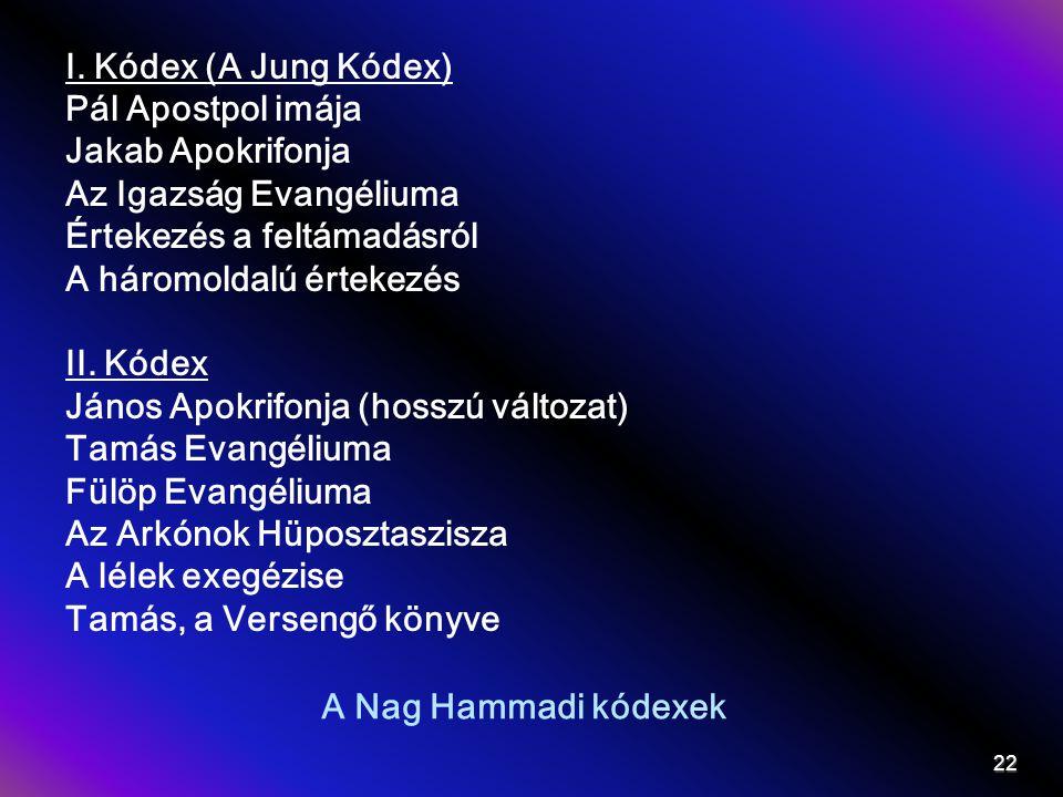 A Nag Hammadi kódexek I. Kódex (A Jung Kódex) Pál Apostpol imája Jakab Apokrifonja Az Igazság Evangéliuma Értekezés a feltámadásról A háromoldalú érte