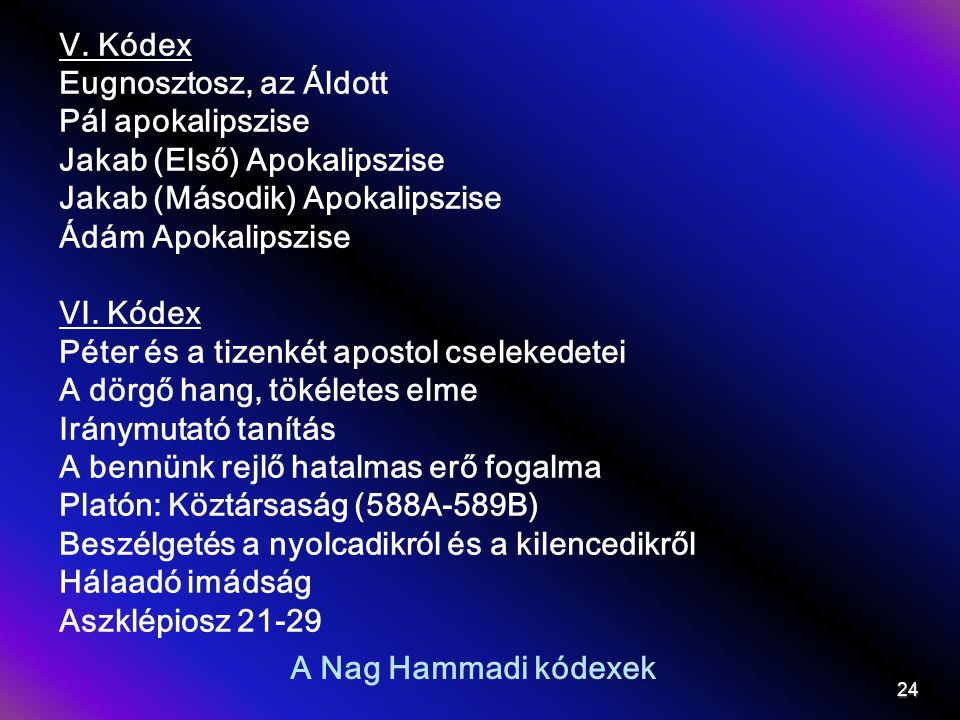 A Nag Hammadi kódexek V. Kódex Eugnosztosz, az Áldott Pál apokalipszise Jakab (Első) Apokalipszise Jakab (Második) Apokalipszise Ádám Apokalipszise VI
