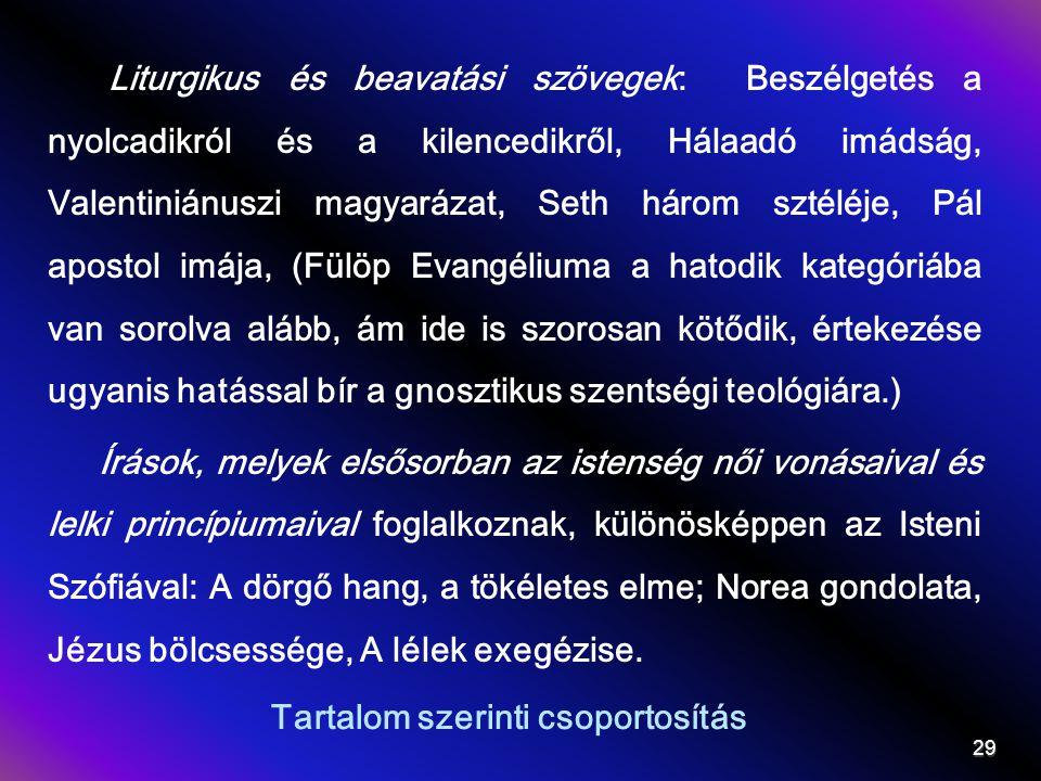 Tartalom szerinti csoportosítás Liturgikus és beavatási szövegek: Beszélgetés a nyolcadikról és a kilencedikről, Hálaadó imádság, Valentiniánuszi magyarázat, Seth három sztéléje, Pál apostol imája, (Fülöp Evangéliuma a hatodik kategóriába van sorolva alább, ám ide is szorosan kötődik, értekezése ugyanis hatással bír a gnosztikus szentségi teológiára.) Írások, melyek elsősorban az istenség női vonásaival és lelki princípiumaival foglalkoznak, különösképpen az Isteni Szófiával: A dörgő hang, a tökéletes elme; Norea gondolata, Jézus bölcsessége, A lélek exegézise.