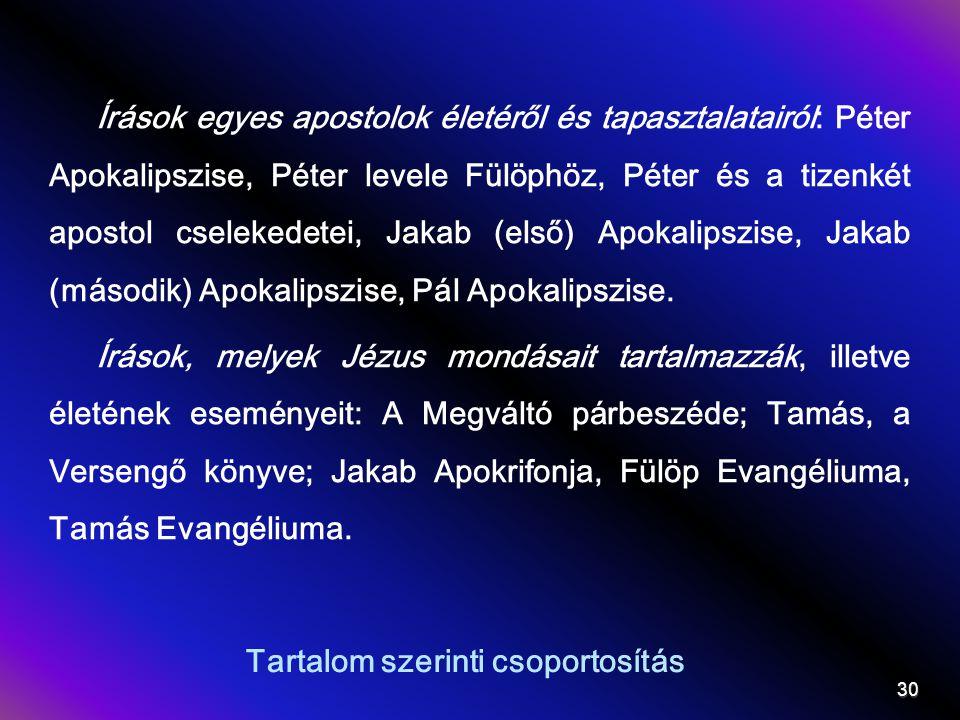 Tartalom szerinti csoportosítás Írások egyes apostolok életéről és tapasztalatairól: Péter Apokalipszise, Péter levele Fülöphöz, Péter és a tizenkét apostol cselekedetei, Jakab (első) Apokalipszise, Jakab (második) Apokalipszise, Pál Apokalipszise.